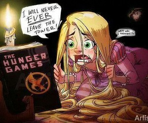 rapunzel, hunger games, and tangled image