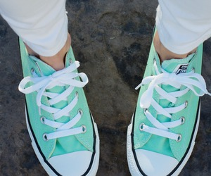 all star, mint, and shoes image