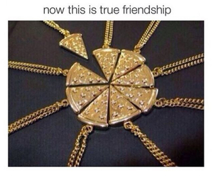 pizza, necklace, and friends image
