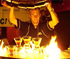 bartender, drinks, and flaming image