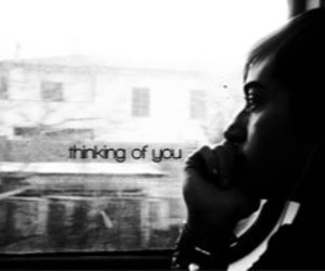 alone, thinking, and black and white image