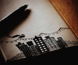 city, drawing, and art image