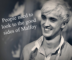black and white, draco malfoy, and harry potter image