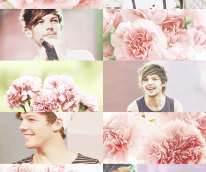 one direction, louis tomlinson, and flowers image