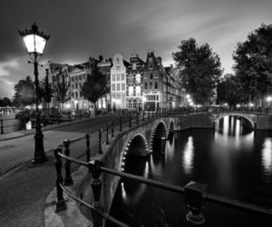 black and white, night, and city image