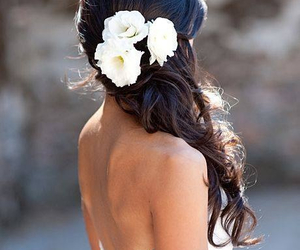 flowers, wedding, and hair image