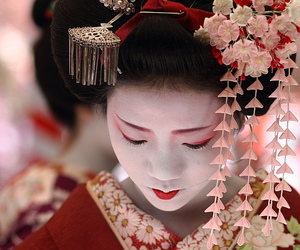 asian, beautiful, and flowers image