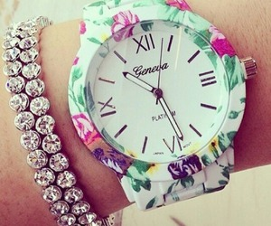 watch, flowers, and bracelet image
