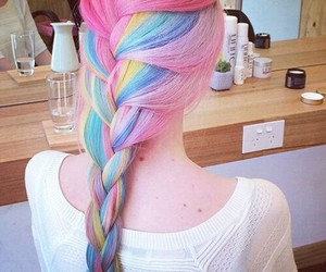 hair, rainbow, and pink image