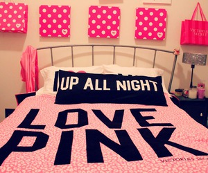 pink, love, and bed image