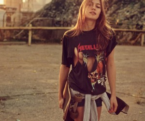 girl, metallica, and skate image