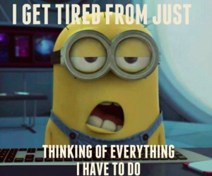 minion and tired image