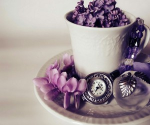 flowers, purple, and clock image