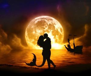 love, mermaid, and moon image