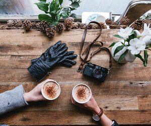 coffee, style, and winter image