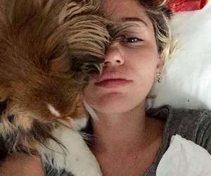 miley cyrus, dog, and selfie image