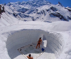 jacuzzi, snow, and couple image