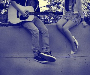 couple, guitar, and legs image