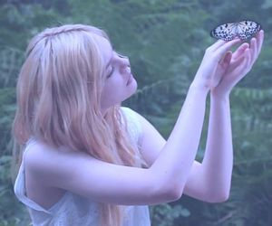 girl, butterfly, and Elle Fanning image