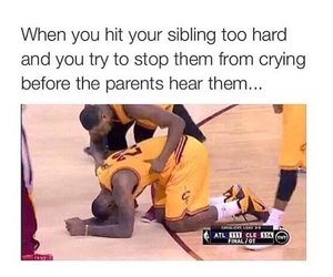 crying, funny, and siblings image