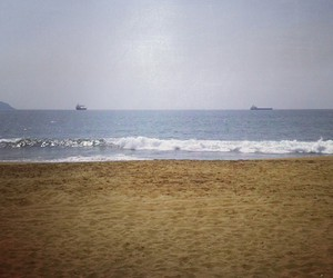 beach, boat, and landscape image