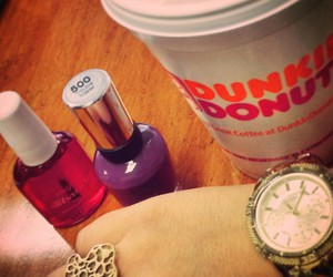 cafe, dunkin donuts, and make up image