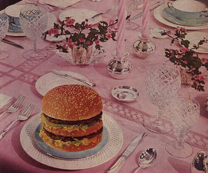 pink, burger, and hamburger image
