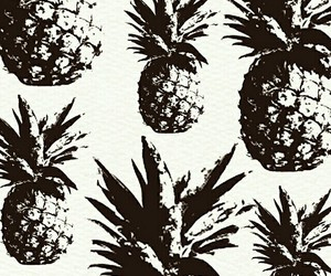 pineapple, wallpaper, and black and white image