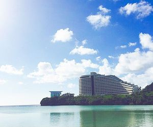 beach, guam, and palmtrees image