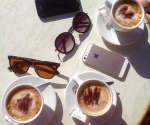 coffee, iphone, and sunglasses image