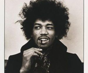 Jimi Hendrix, black and white, and guitar image