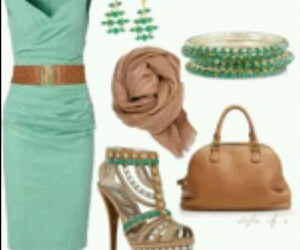 brown purse, brown scarf, and teal dress image