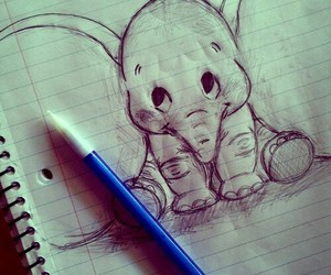 drawing, elephant, and dumbo image