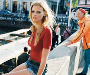 Lara Stone, model, and red image