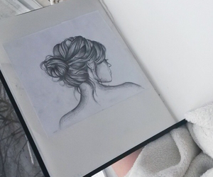beautiful, draw, and hair image