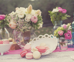flowers, pastel, and macaroons image