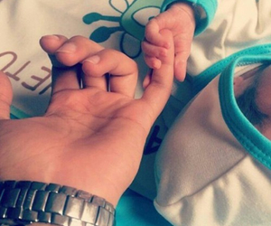 baby, dad, and holding hand image