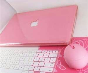 pink, apple, and keyboard image