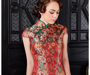 floral lace sheath qipao image