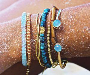 bracelet, blue, and summer image