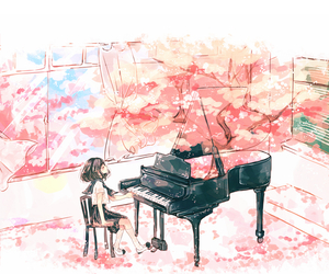 piano, anime, and art image