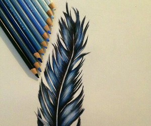 blue, feather, and art image