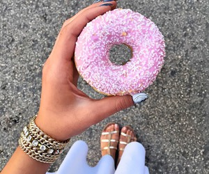 donuts, pink, and nails image