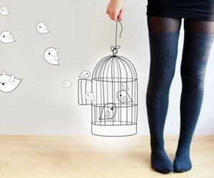 bird, girl, and socks image