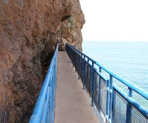 beach, blue, and bridge image