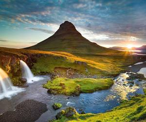 iceland, river, and mountain image