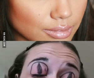 funny, lol, and cat eye make up tutorial image
