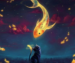 cat, fish, and art image
