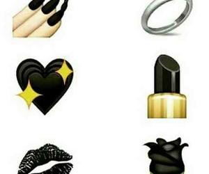 black, emoji, and rose image