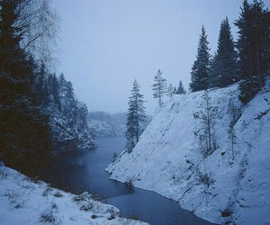 river, snow, and blue image